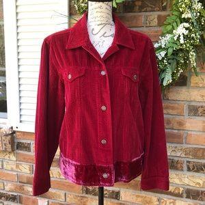 JJill corduroy with velvet trim jacket size large